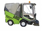 stock photo of sweeper  - Green street sweeper machine isolated over white background - JPG
