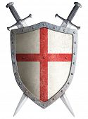 picture of crusader  - old medieval crusader shield and two crossed swords isolated - JPG