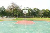 picture of netball  - outdoor basketball court in local school Thailand - JPG