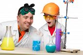 pic of chemistry  - Teen and teacher of chemistry at chemistry lesson making experiments isolated on white background - JPG