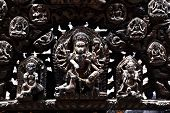 picture of hindu temple  - Carved wooden details on a public Hindu temple - JPG