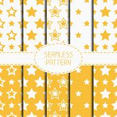 stock photo of starry  - Set of yellow geometric seamless pattern with stars - JPG
