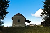 image of serbia  - House on a hill at autumn sunny day, Radocelo mountain, Serbia ** Note: Soft Focus at 100%, best at smaller sizes - JPG
