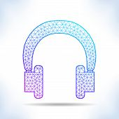 picture of interpreter  - Geometric headphones on white - JPG
