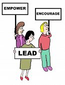 image of encouraging  - Cartoon of businesswomen holding signs that read - JPG