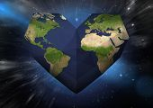 foto of outer  - Heart shaped earth against outer space - JPG