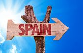 stock photo of citizenship  - Spain wooden sign with sky background - JPG