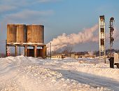 image of railroad yard  - snow covered rail yard on a winter morning - JPG