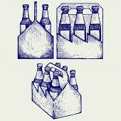 image of drawing beer  - Beer six pack in three boxes - JPG