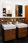 pic of lavabo  - His and hers wash basins in elegant bathroom - JPG
