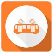 stock photo of tram  - tram orange flat icon public transport sign  - JPG