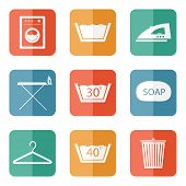 foto of laundry  - Laundry And Cleaning Icons Set for web and mobile - JPG