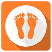 picture of flat-foot  - foot orange flat icon   - JPG
