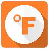 pic of fahrenheit thermometer  - fahrenheit orange flat icon temperature unit sign  - JPG