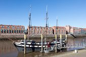 stock photo of pirate ship  - Old pirate ship which is today a restaurant in Bremen Germany - JPG
