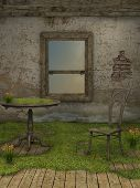 picture of fairy-mushroom  - Abandoned fairy house with chair and table - JPG