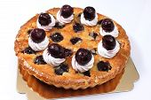 image of cherry pie  - Delicious homemade cherry pie with isoleted on white - JPG