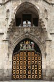 stock photo of coat  - Coat of arms of Munich on the Neues Rathaus  - JPG