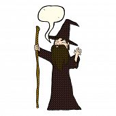 picture of clip-art staff  - cartoon old wizard with speech bubble - JPG