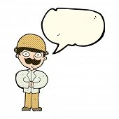 stock photo of safari hat  - cartoon man in safari hat with speech bubble - JPG