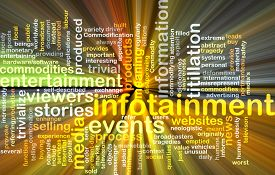 picture of titillation  - Background text pattern concept wordcloud illustration of infotainment glowing light - JPG