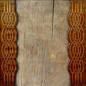 foto of celtic  - ancient wood background with celtic pattern carving - JPG