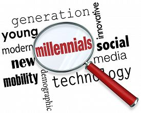 picture of socialism  - Millennials word under a magnifying glass to illustrate searching for young people in the new demographic that is tech savvy - JPG