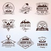 Summer Holidays Design Elements. Set Of Hipster Vintage Logotypes And Badges poster