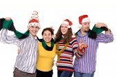 picture of christmas party  - four friends having fun on a christmas party - JPG