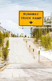 image of runaway  - Runaway Truck Ramp and Road Sign  - JPG