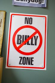 pic of school bullying  - No bully zone sign in primary school