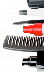 pic of hair comb  - Frame of Black Comb and Various Hair Styling and Curling Products isolated on white background - JPG