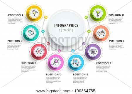 poster of Business 8 Step Process Chart Infographics With Step Circles. Circular Corporate Graphic Elements. C
