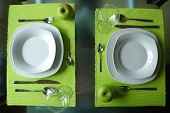 stock photo of collate  - Modern dining set for two - JPG
