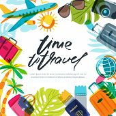 Vector Banner, Poster Or Flyer Design Template With Palm Leaves, Plane, Luggage And Calligraphy Lett poster