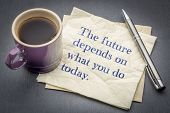The future depends on what you do today inspirational quote - handwriting on a napkin with cup of co poster