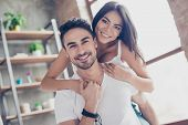 Love Forever. Beautiful Couple Of Young Hispanic Lovers Are Hugging With Tenderness Indoors At Home, poster
