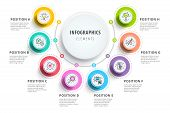 Business 8 Step Process Chart Infographics With Step Circles. Circular Corporate Graphic Elements. C poster