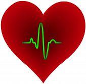 image of heart shape  - Purple heart shape with green pulse trace inside - JPG