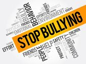 Stop Bullying Word Cloud Collage, Social Concept Background poster