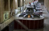 image of hydroelectric power  - View of the Hoover Dam generators on the Arizona - JPG