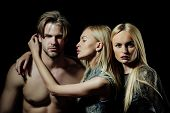Sexy Man With Two Blond Girlfriends poster