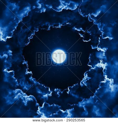 Mystical Bright Full Moon In