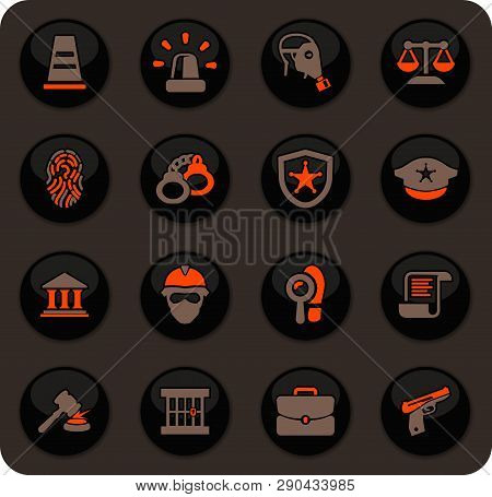 Police Color Vector Icons On