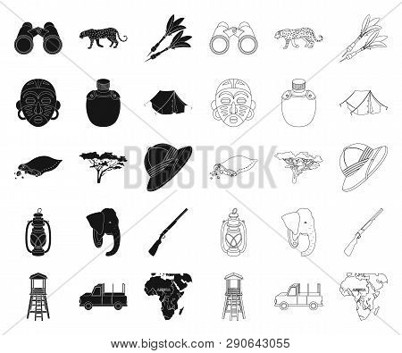 African Safari Black Outline Icons