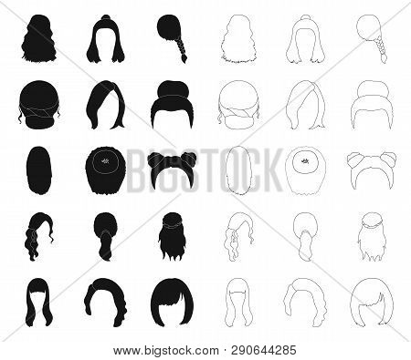 Female Hairstyle Black Outline Icons