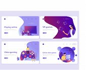 Set Of Landing Page Templates. Video Gaming, Online Games, Vr Gaming, Gamepad. Flat Vector Illustrat poster