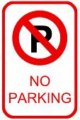 image of inference  - A no parking sign for use in any traffic inference - JPG