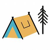 Camping Tent Flat Illustration. Camping And Forest Hike Series. poster