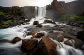 Oxararfoss Waterfall In Thingvellir, Iceland poster